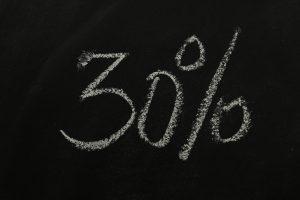 30 procent skrivet på griffeltavla.